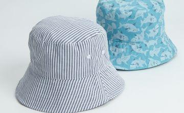 Shark Print & Stripe Bucket Hat 2 Pack