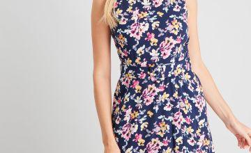 Navy Floral Print Belted Dress