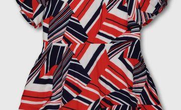 Red, White & Blue Geo Print Dress