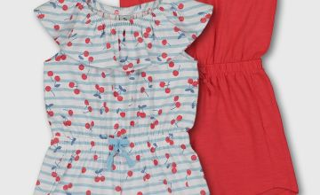 Cherry Print & Red Jersey Playsuit 2 Pack