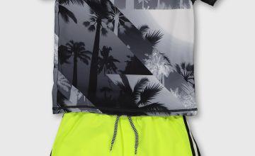 Palm Print Rash Vest & Swim Shorts Set