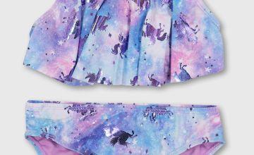 Unicorn Print Flounce Bikini