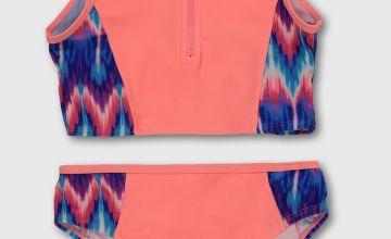 Coral & Aztec Print Sporty Bikini Set