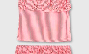 Pink Stripe Seersucker Tankini