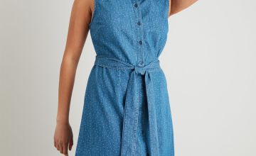Denim Blue Dot Print Sleeveless Shirt Dress
