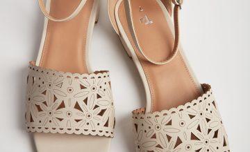 Cream Laser Cut Floral Sandals