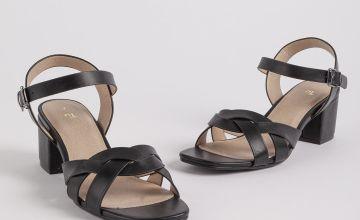 Black Strappy Block Heel Sandals