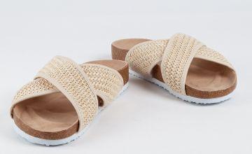 Cream Crochet Cross Strap Sandals