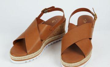 Tan Cork Wedge Sandals
