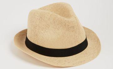 Light Natural Straw Black Band Trilby Hat