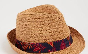 Dark Natural Straw Tropical Leaf Band Trilby Hat