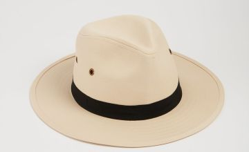 Cream Fedora Safari Hat With Black Band