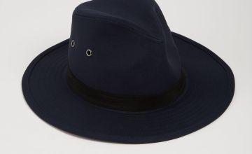 Navy Fedora Safari Hat With Black Band