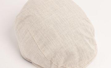Stone Textured Linen Blend Flat Cap