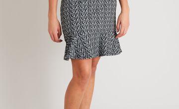 Black & Grey Textured Flippy Skirt