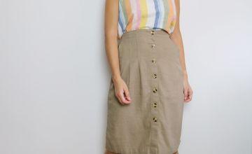 Natural Linen-Rich Skirt