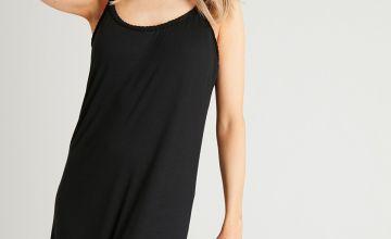 PETITE Black Plait Detail Maxi Cami Dress