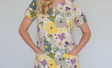 Floral Print Linen-Rich Shift Dress