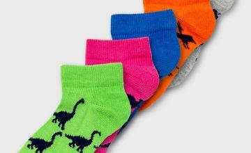 Neon Dinosaur Trainer Sock 5 Pack