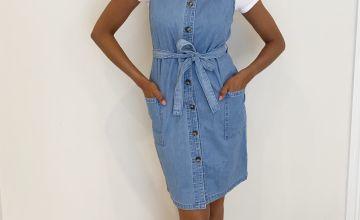 Denim Sleeveless Shirt Dress