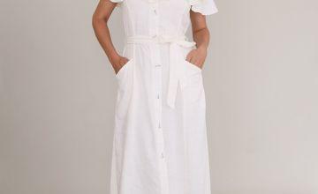 White Button-Through Bardot Dress With Linen