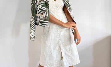 Cream Broderie Dress With Linen