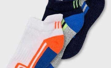 Multicoloured Block Stripe Trainer Sock 3 Pack