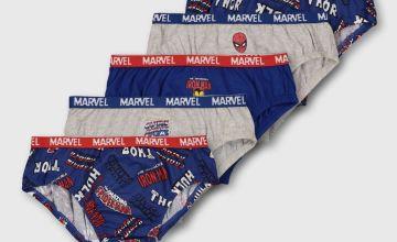 Marvel Avengers Blue & Grey Slogan Briefs 5 Pack