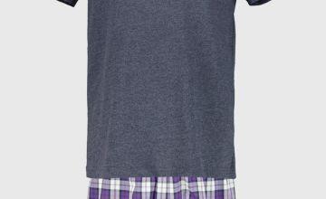 Navy & Purple Check Shortie Pyjamas