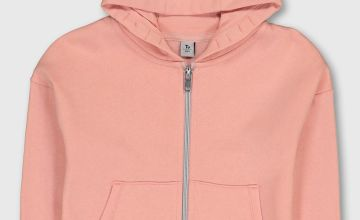 Pink & Silver Zip Through Hoodie