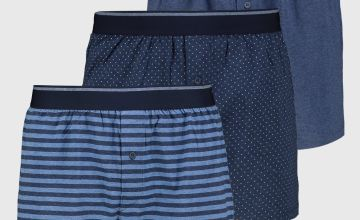 Blue Stripe, Dotted & Marl Jersey Boxers 3 Pack