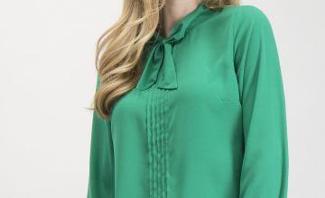 Pea Green Tie Neck Blouse