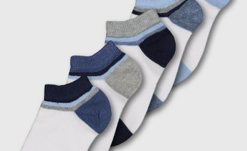 White & Blue Stripe Welt Trainer Socks 5 Pack