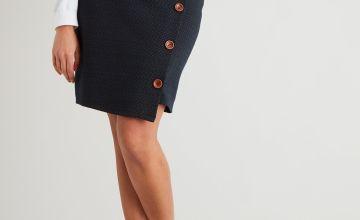 Navy & Brown Asymmetric Hem Button Detail Skirt