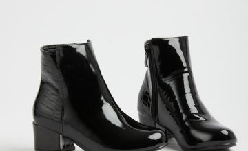 SPOT ON Black Faux Croc Patent Ankle Boots