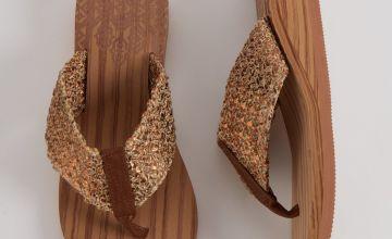 Tan Wood Effect Wedge Sandals