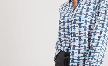 Blue Swan Print Shirt