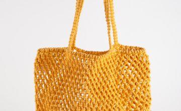Mustard Yellow Macrame Shopper Bag - One Size