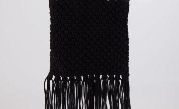 Black Macrame Handheld Bag - One Size
