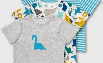 Grey, Dinosaur & Stripe T-Shirt 3 Pack