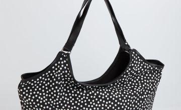Black & White Spot Large Cotton Canvas Shopper - One Size