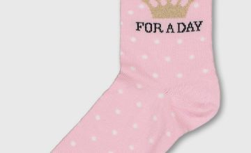 Pink & White Spot 'Queen For A Day' Socks - 4-8