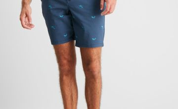 Swordfish Embroidered Chino Shorts With Stretch