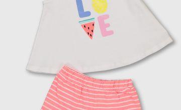 'LOVE' White Vest & Stripe Shorts
