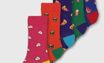 Fast Food Print Ankle Socks 5 Pack