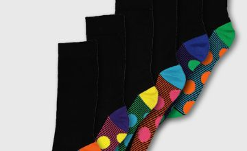 Multi Spot Stripe Stay Fresh Socks 7 Pack