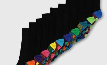 Multi Spot Stripe Stay Fresh Socks 10 Pack
