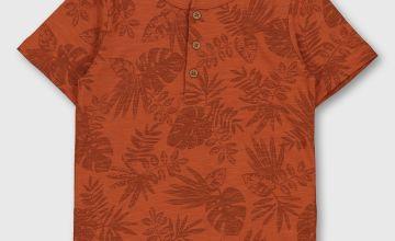 Leaf Print Grandad T-Shirt