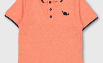 Neon Orange Dinosaur Motif Polo Shirt