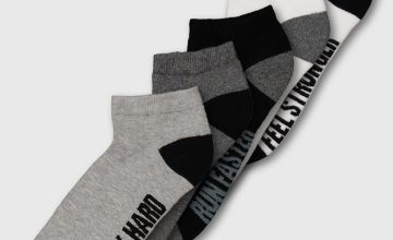 Active Multi Arch Slogan Support Trainer Socks 5 Pack